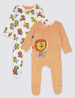 2 Pack Lion Pure Cotton Zip Sleepsuits