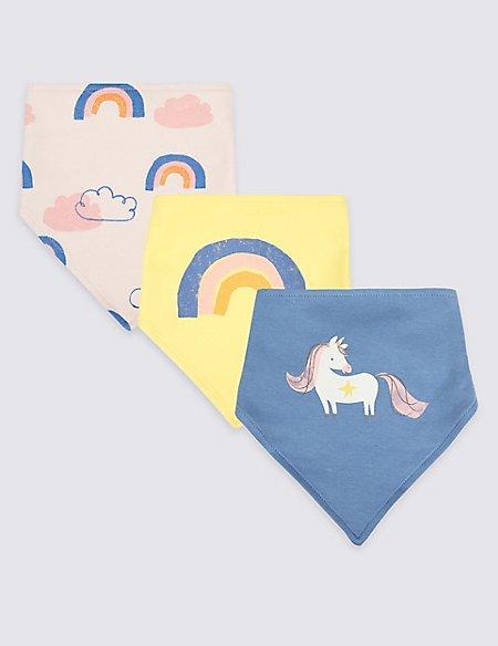 3 Pack Rainbow Unicorn Print Pure Cotton Dribble Bibs