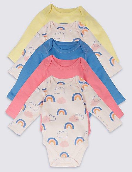 5 Pack Rainbow Print Pure Cotton Bodysuits