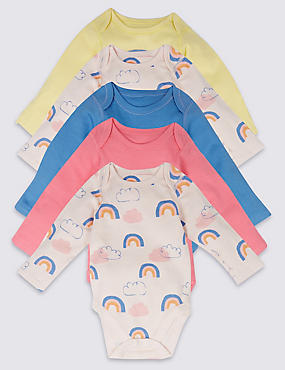 5 Pack Rainbow Print Pure Cotton Bodysuits