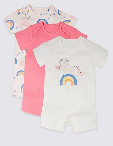 3 Pack Rainbow Unicorn Print Pure Cotton Rompers