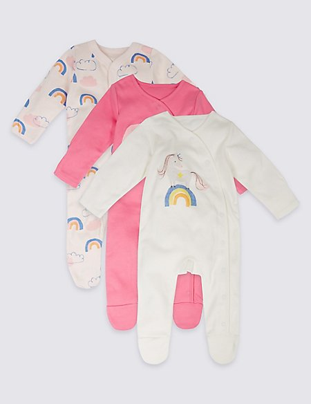 3 Pack Rainbow Unicorn Print Pure Cotton Sleepsuits