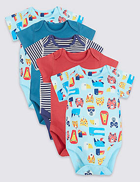 5 Pack Flat Seams Pure Cotton Bodysuits
