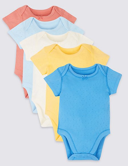 5 Pack Patterned Pure Cotton Bodysuits