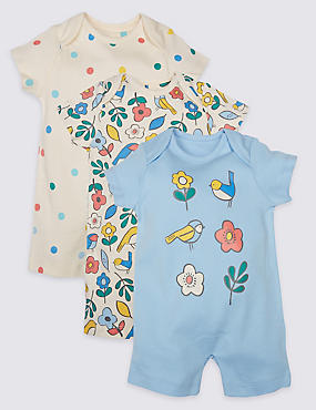3 Pack Pure Cotton Floral Rompers