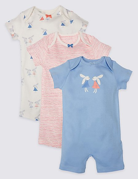 3 Pack Bunny Print Pure Cotton Rompers