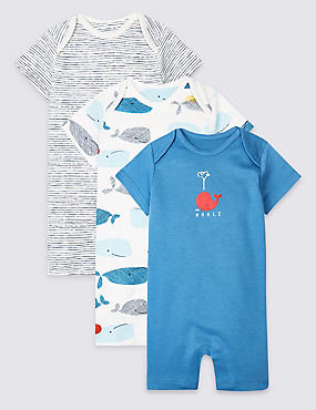 3 Pack Pure Cotton Whale Rompers
