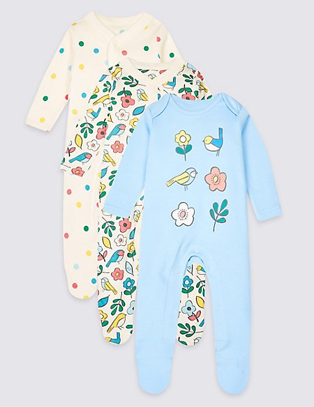 3 Pack Printed Pure Cotton Sleepsuits