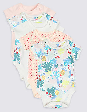 5 Pack Pure Cotton Tropical Print Bodysuits