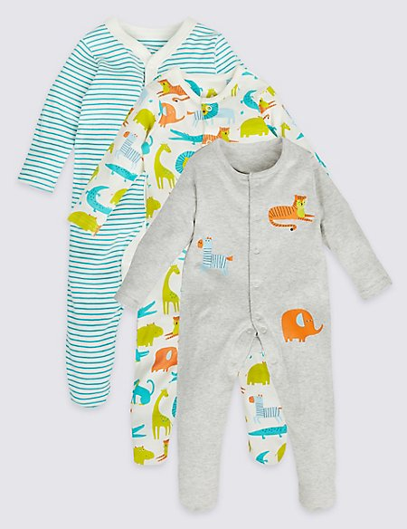 3 Pack All Over Animal Print Sleepsuits