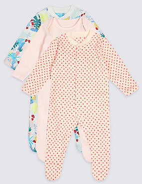 3 Pack Pure Cotton Tropical Print Sleepsuits
