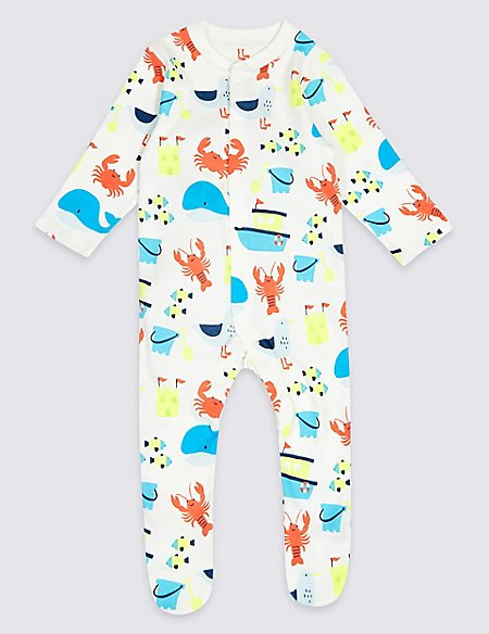 3 Pack Pure Cotton Sea life Sleepsuits