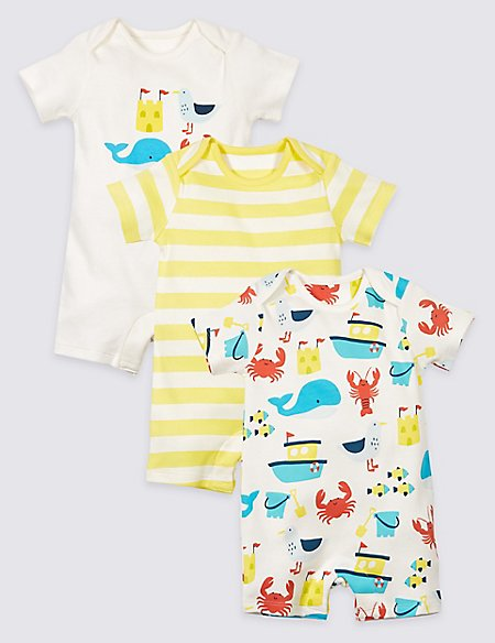 3 Pack Sea Life Pure Cotton Rompers