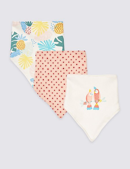 3 Pack Pure Cotton Tropical Triple Bibs