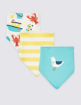 3 Pack Pure Cotton Sea Life Triple Bibs