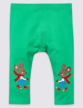 Cotton Rich Mouse Leggings with Stretch, GREEN, catlanding