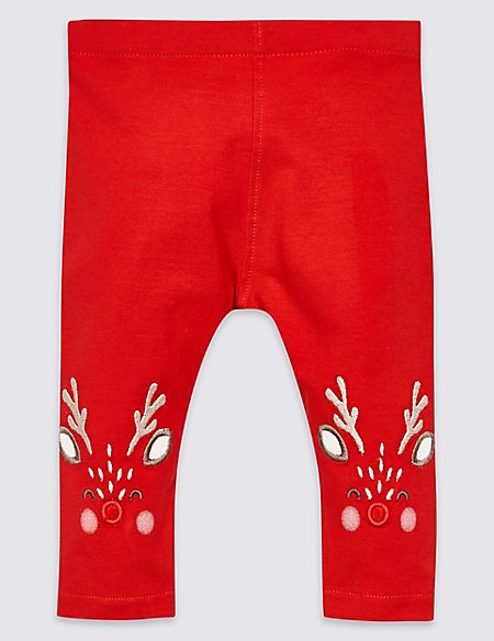 Cotton Rich Reindeer Leggings with Stretch