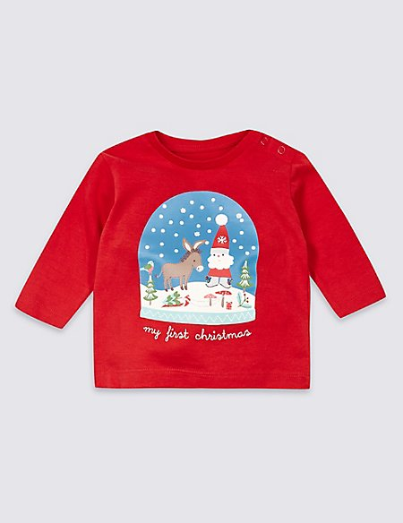 77ecd5fb0 Product images. Skip Carousel. Pure Cotton My First Christmas T-Shirt