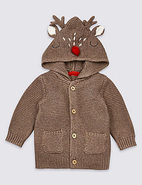 Pure Cotton Knitted Reindeer Cardigan, BROWN, catlanding