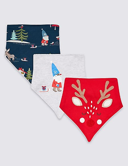 3 Pack Pure Cotton Dribble Bibs