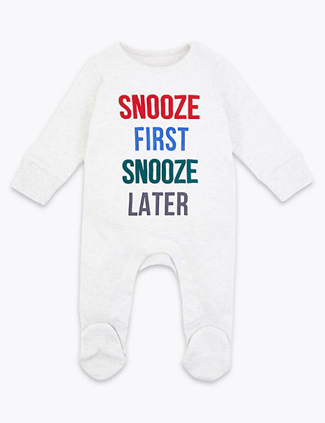 Snooze First Snooze Later Slogan Sleepsuit