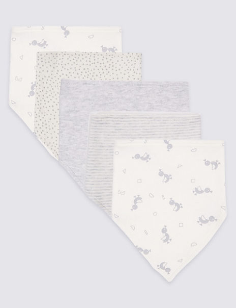 5 Pack Printed Pure Cotton Dribble Bibs