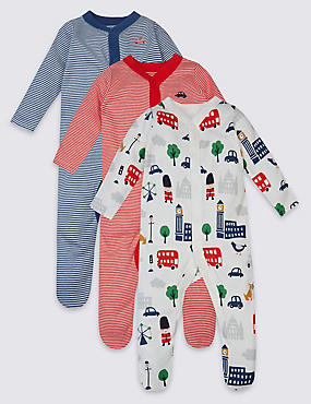 3 Pack London Print Pure Cotton Sleepsuits