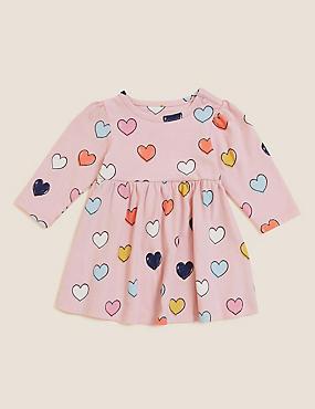 Pure Cotton Heart Print Dress (0-3 Yrs)