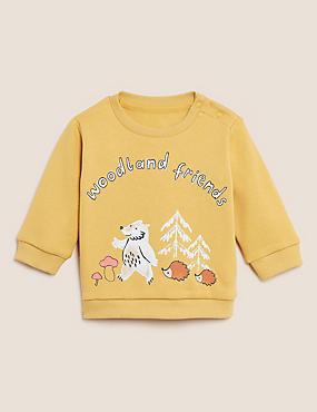 Cotton Woodland Friends Slogan Sweatshirt (0-3 Yrs)