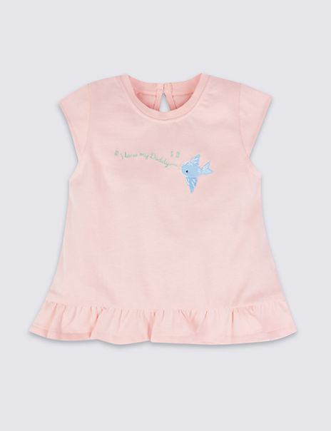 Pure Cotton I Love My Daddy Embroidered Top