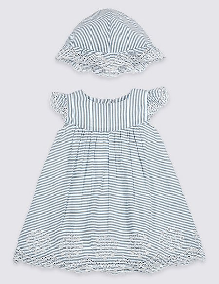 2 Piece Embroidered Pure Cotton Dress & Hat