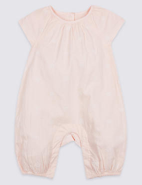 Embroidered Woven Pure Cotton Romper