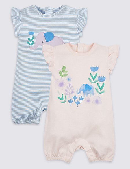 2 Pack Embroidered Pure Cotton Rompers