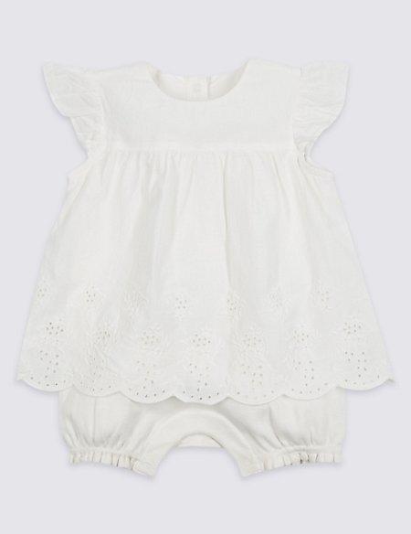 Pure Cotton Embroidered Romper