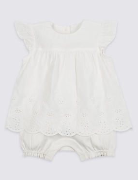 Pure Cotton Embroidered Romper