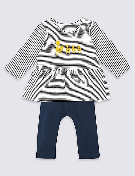 2 Piece Duck Print Top & Bottom Outfit