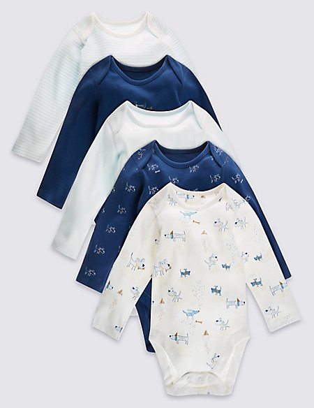 5 Pack Pure Cotton Boys Layette Long Sleeved Bodysuits