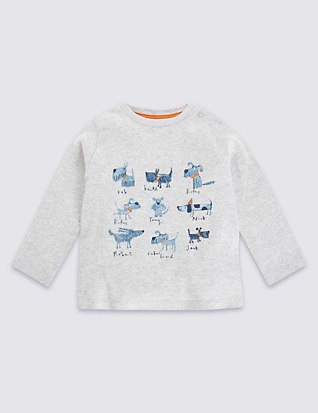 Pure Cotton Dog Print T-Shirt