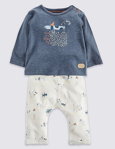 2 Piece Pure Cotton Printed T-Shirt & Joggers Outfit
