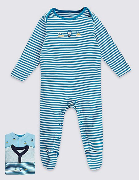 3 Pack Pure Cotton Boys Pirate Sleepsuit