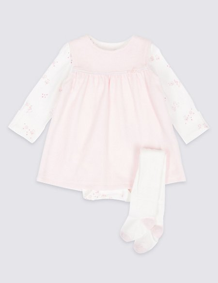 3 Piece Baby Dress & Bodysuit with Tights
