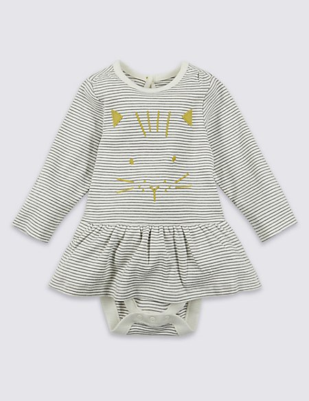 Pure Cotton Cat Face Body Baby Dress