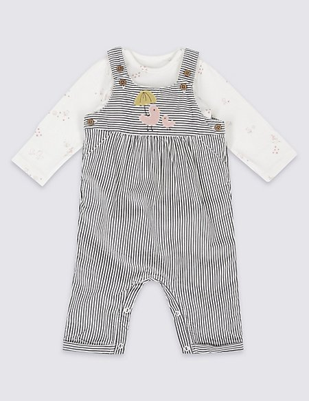 2 Piece Cord Applique Dungaree and Bodysuit