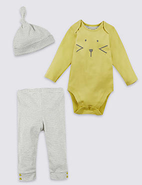 3 Piece Bodysuit & Bottom with Hat Outfit
