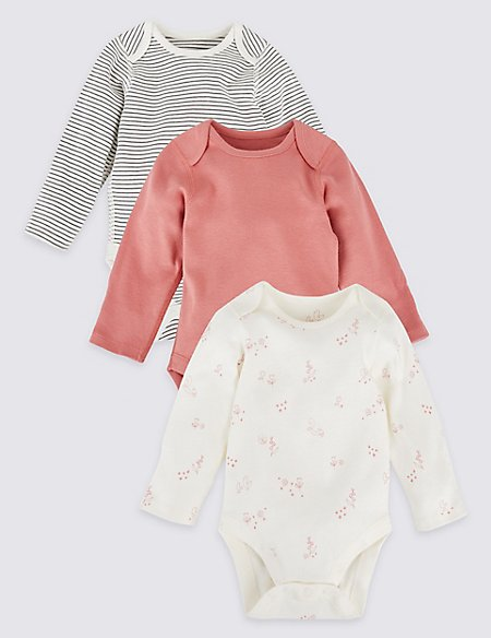 3 Pack Assorted Pure Cotton Bodysuits