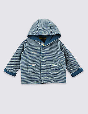 Cotton Rich Striped Velour Hooded Jacket
