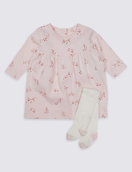 All Over Print Baby Dress with Tights