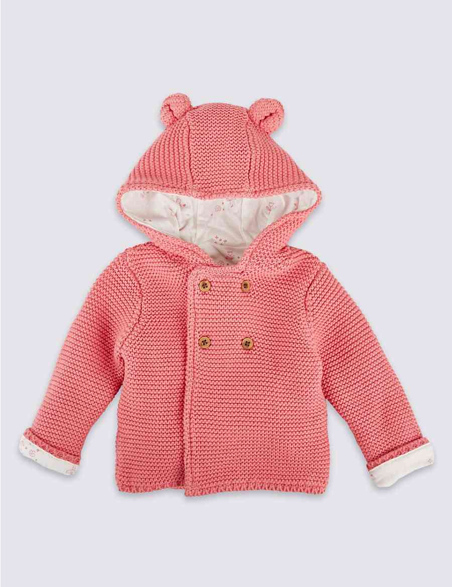 240692890 Pure Cotton Chunky Knit Hooded Cardigan