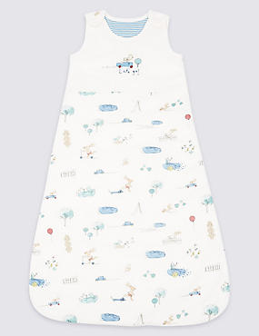 Pure Cotton 2.1 Tog Rabbit All Over Print Sleeping Bag