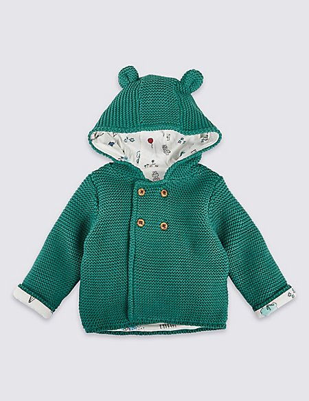Pure Cotton Chunky Knitted Hooded Cardigan